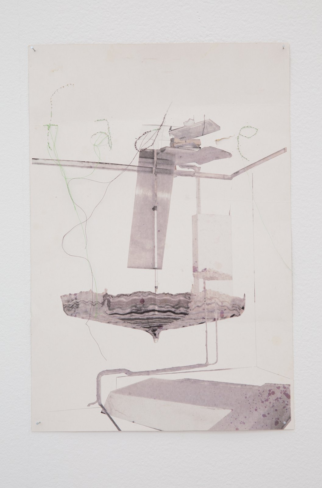 Fade, 2014, print and sewing on card board, 47 x 32 cm