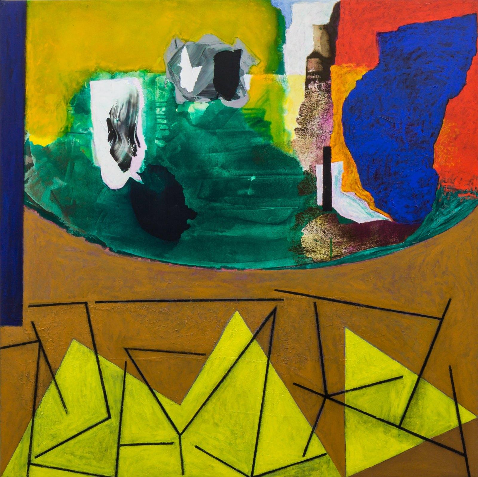 Paul Osipow, Rikosjett, 1997-99, oil, charcoal and acrylic on canvas, 240 x 240 cm