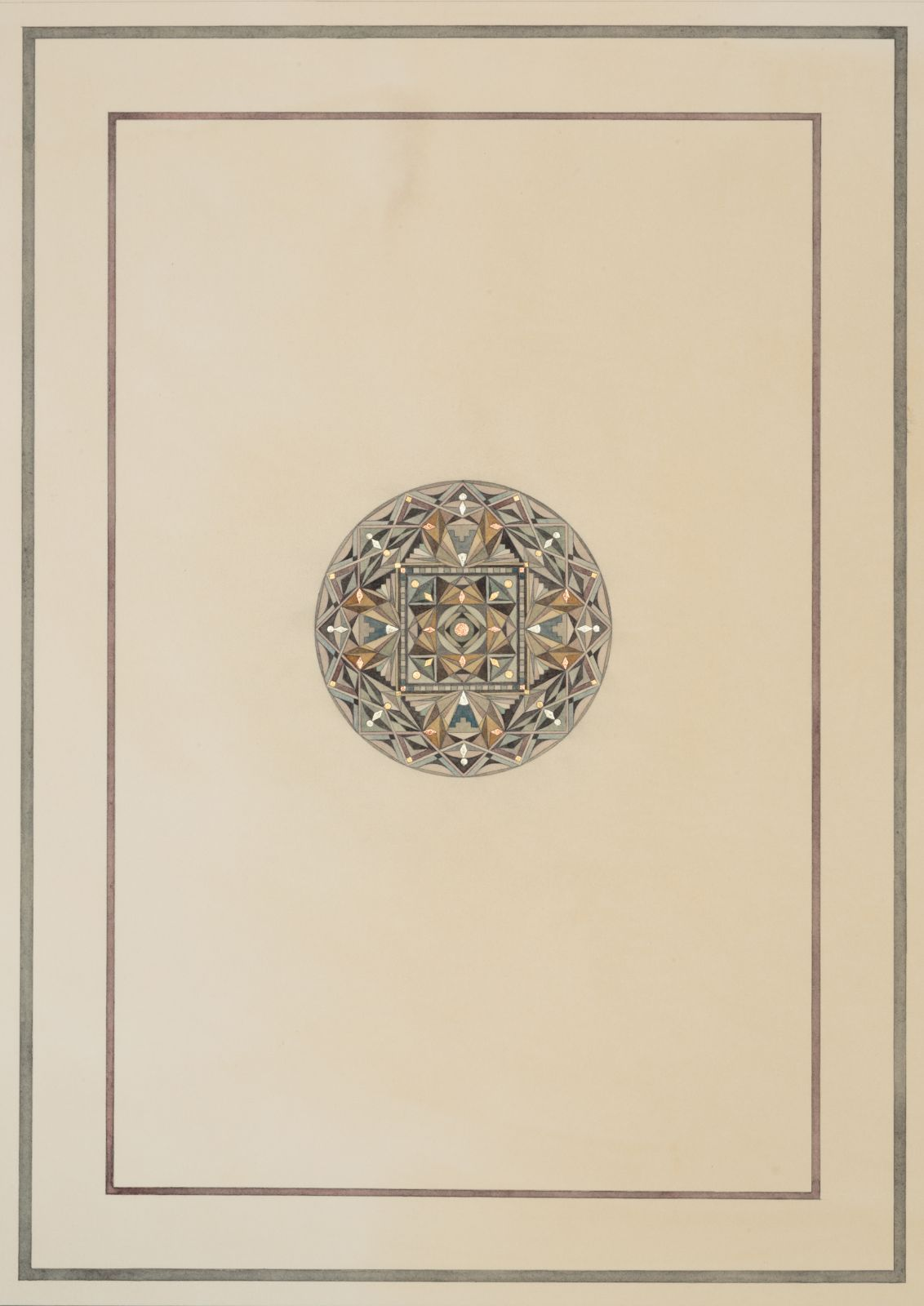 Aegis, 2014, watercolour, gold and copper leaf on paper, 52,5 x 38 cm