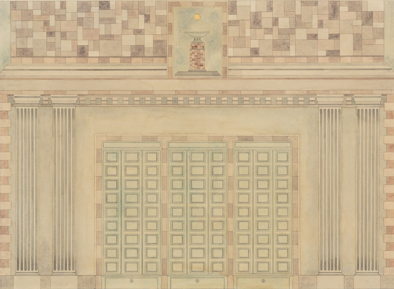 Tempel, 2014, watercolour and gold leaf on paper, 52 x 72 cm