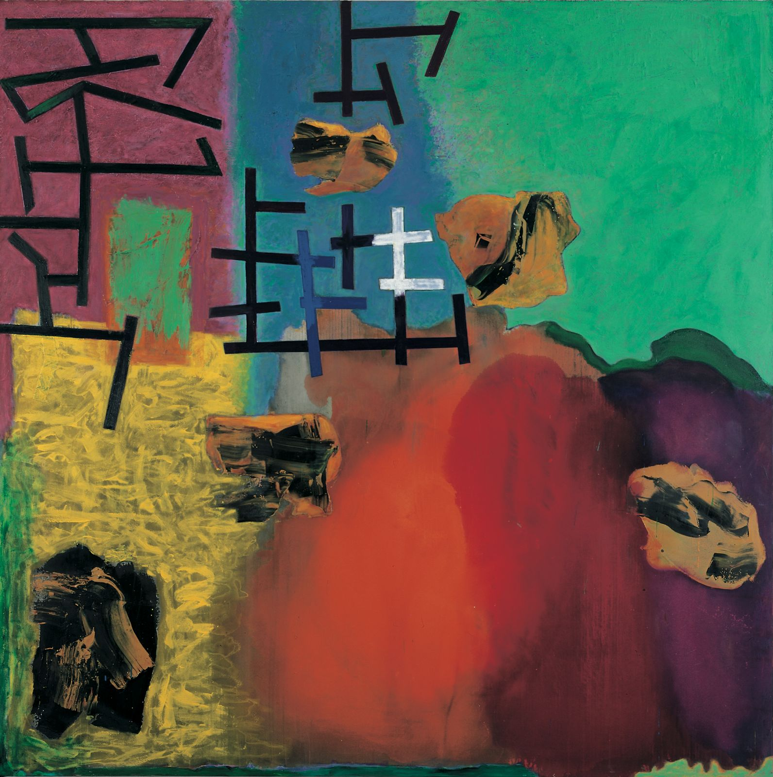 Pompong, 1997-99, oil and acrylic on canvas, 240 x 240 cm