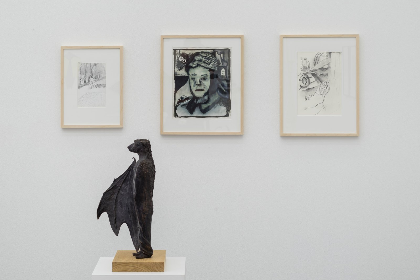 From left: Niclas Löfgren, Lorca parc, Granada, 2007, Pencil on paper, 20 x 13 cm. Guts and gore of the soul, 2008, ink on paper, 32,5 x 26,5 cm. We still don't know what that was (Phoenix nest), 2014, Pencil on paper, 28,5 x 20 cm
