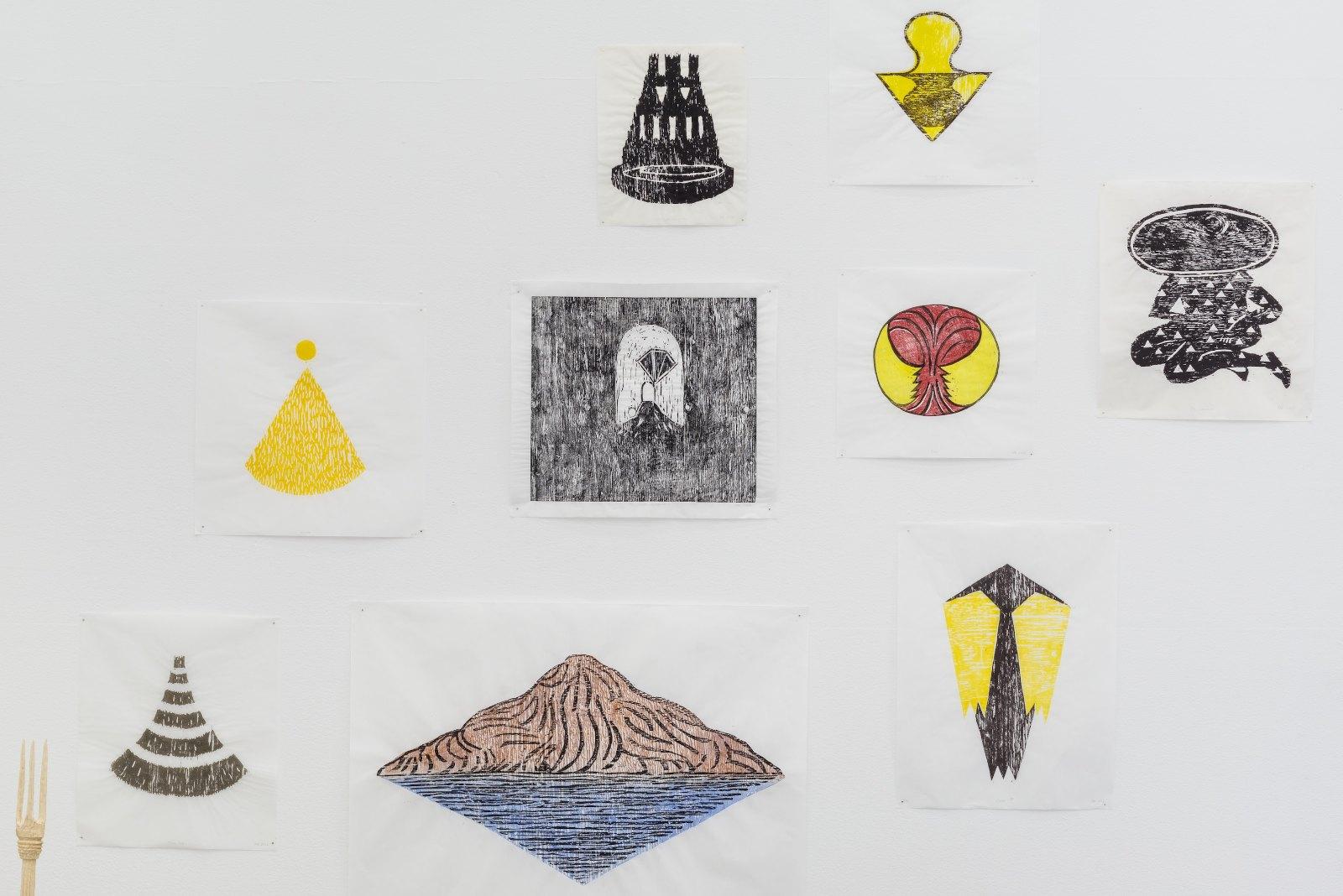 Magnus Dahl, Transition, 2012, woodcut, 46 x 39 cm, ed. 1 / Mount Analogue, 2012, woodcut, 63 x 95 cm, ed. 1 / Agape III, 2012, woodcut, 55 x 42 cm, ed. 4 / Solen, 2011, woodcut, 56 x 45, ed. 8 / The other entrance, 2012, woodcut, 46 x 52 cm, ed. 1 / Robe, 2012, woodcut, 37 x 40 cm, ed. 3 / The Shaman, 2012, woodcut, 47 x 41 cm, ed. 1 / Castle in sky, 2012, woodcut, 35 x 29 cm, ed. 1 / Floating point, 2012, woodcut, 41 x 41 cm, ed. 2