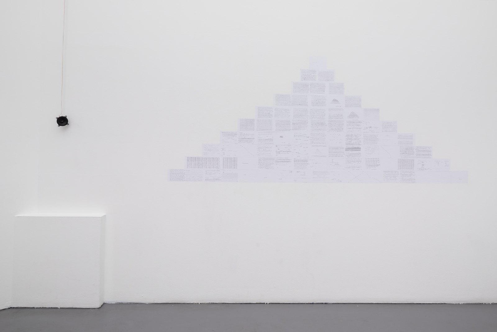 Marie Raffn, And an ant and. And an aunt and., 2014. Wallpaper text, sound loop, 230 x 85 cm