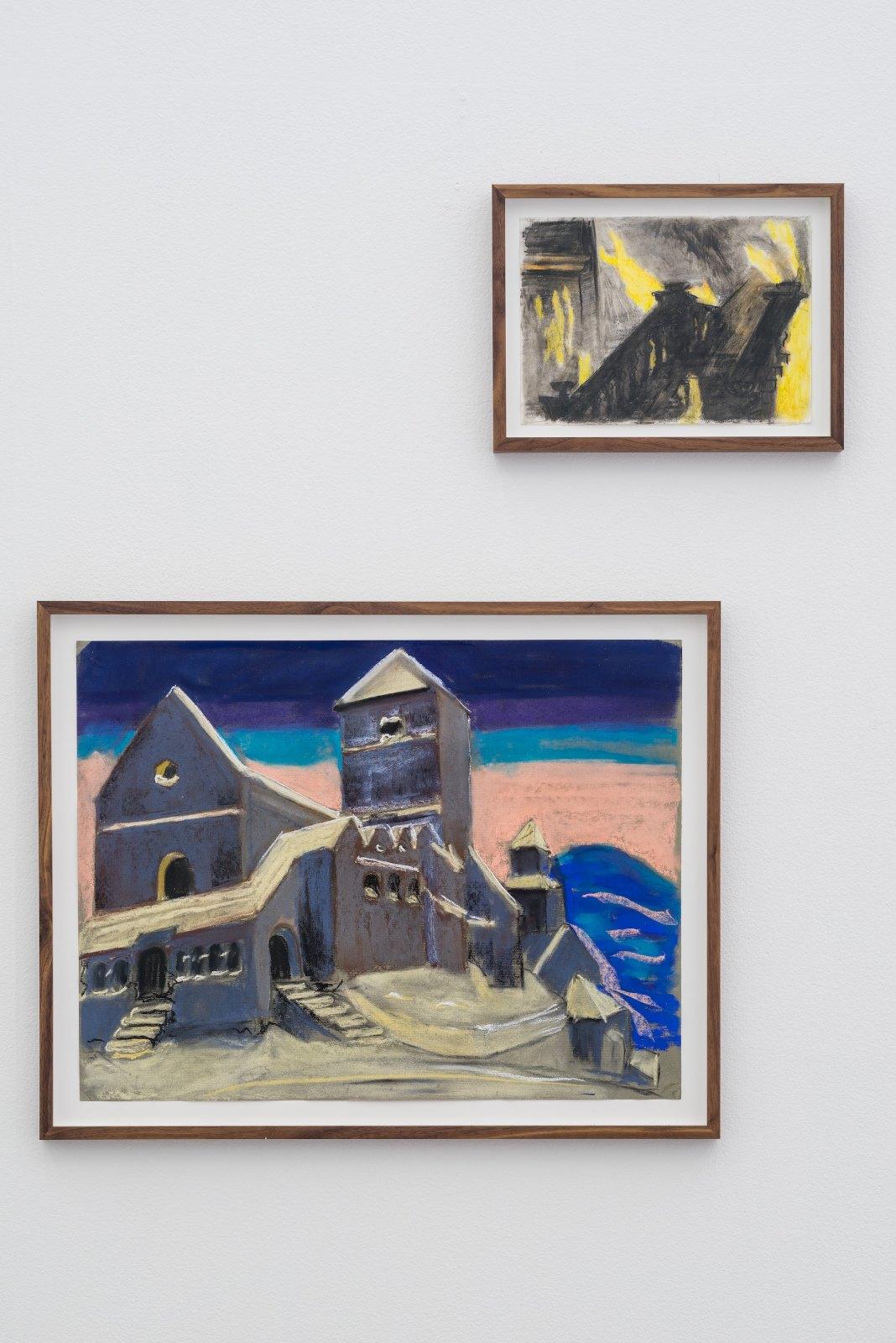 Olle Wärnbäck, Sång 3, 2015, crayon on paper, 63 x 48 cm. Untitled, 2015, crayon on paper, 30 x 21 cm