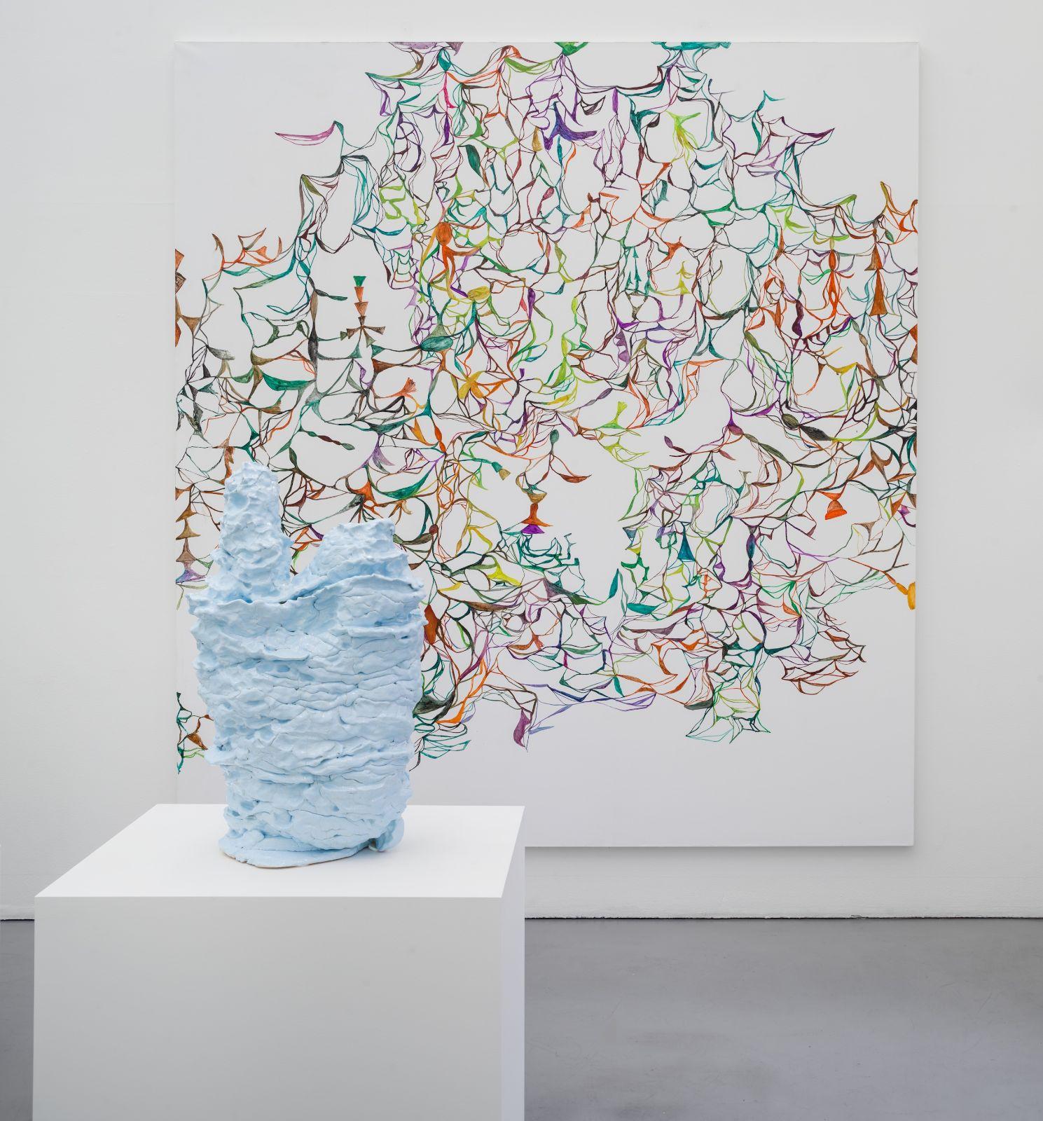 The Colibri Paintings No. 01, 2015, oil on canvas, 283 x 259 cm, The Libertines No. 02, 2014, glazed ceramics, 86 cm