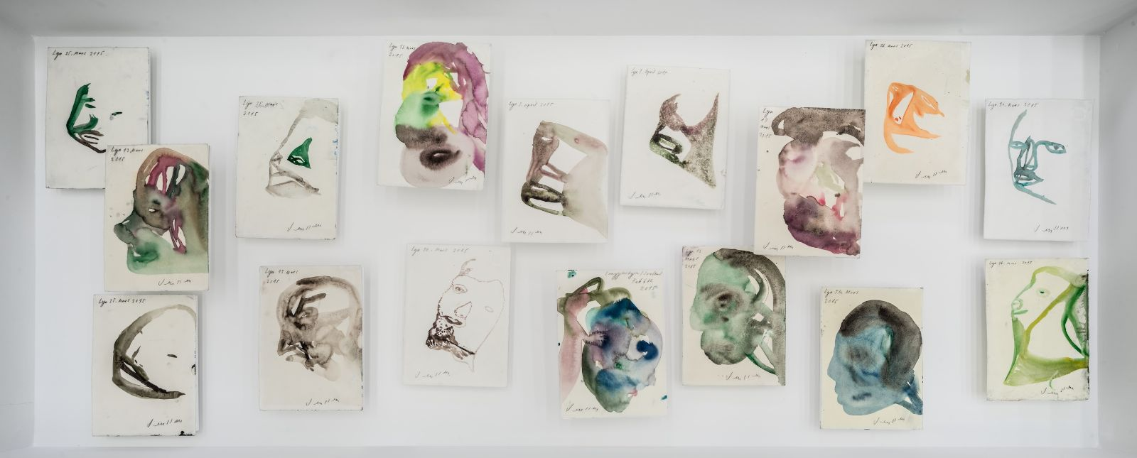 Untitled, 2015, Watercolour and pencil on waxed paper, each 23 x 17,5 cm