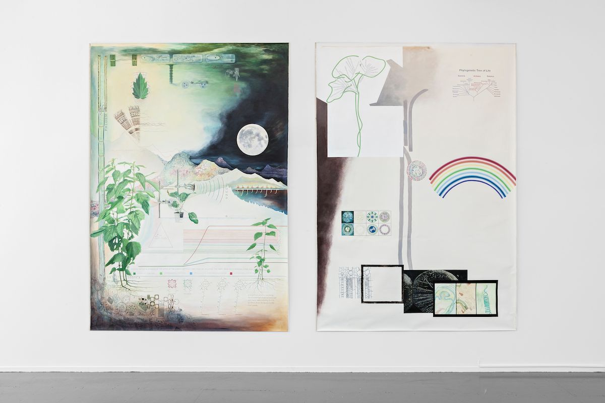 Plant perception 1 & 2, 2015, diptych, pigments, acrylic binder on canvas, 300 x 215 cm (each). Installation view, Momentum 8 - Tunnel Vision, The Nordic Biennial of Contemporary Art, Moss, Norway, 2015. Photo: Vegard Kleven © Punkt Ø/Momentum 8