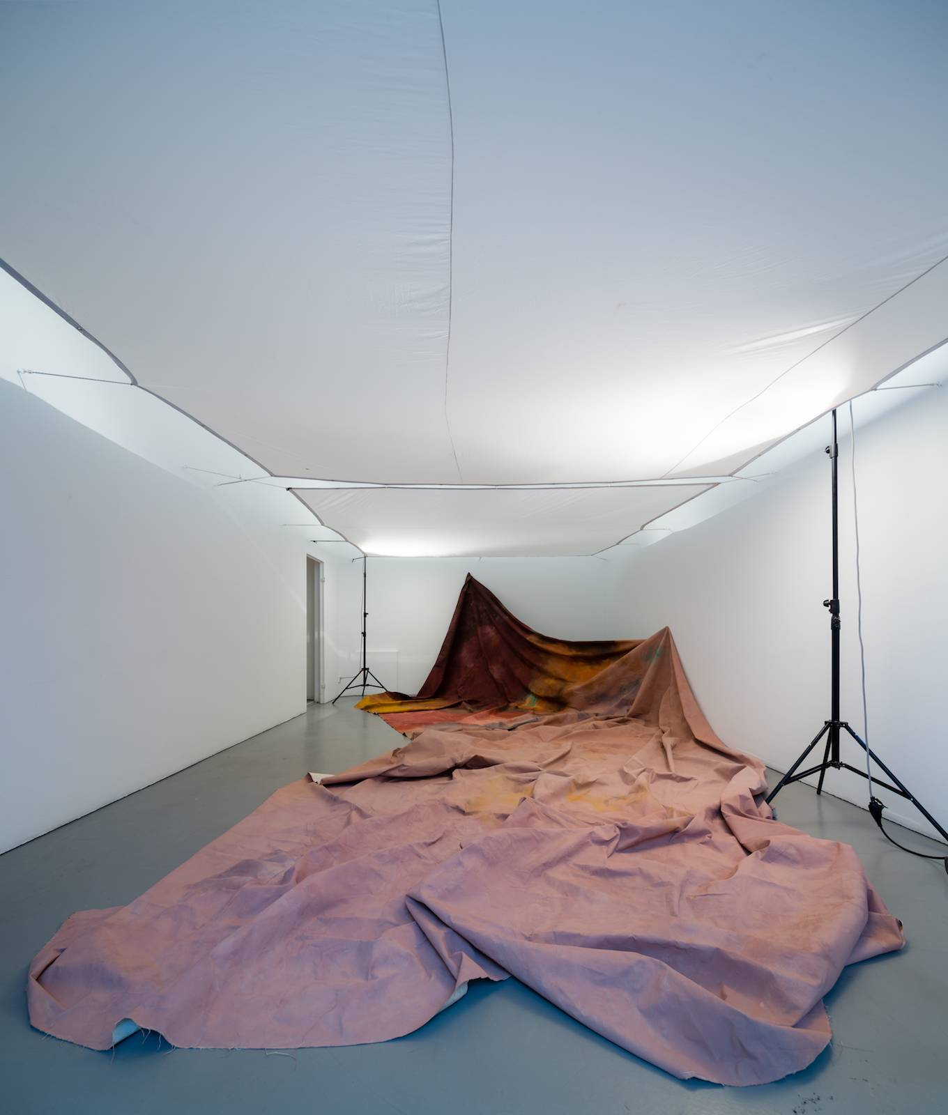 Sofia Ekström, Pose, 2015, acrylic on sailcloth, diffusion cloth and studio lamps, dimensions vary