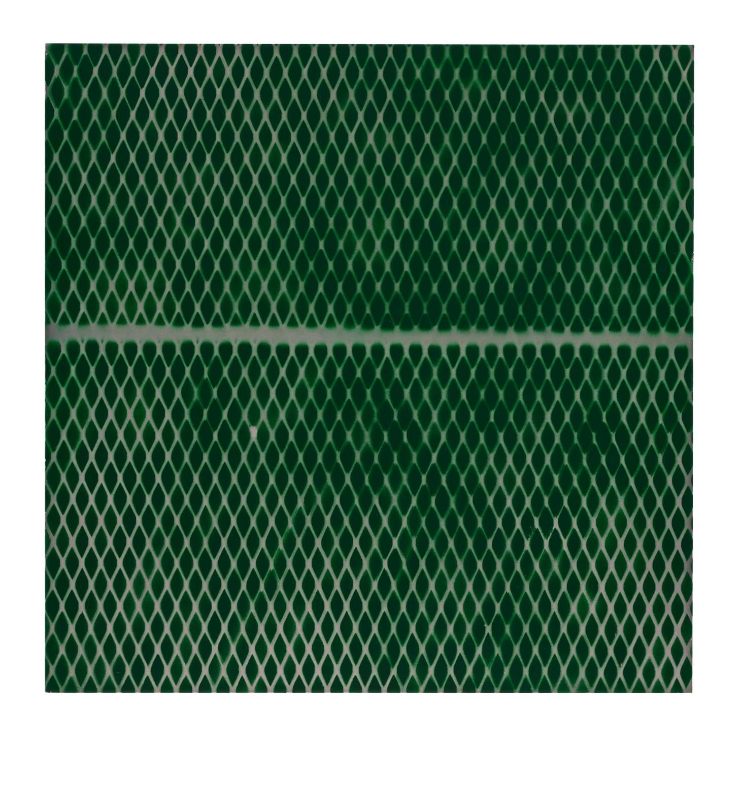 "STAIN : 40°42'43.9""N 73°56'14.6""W, 2015, spraypaint on aluminium, 81,3 x 81,3 cm"