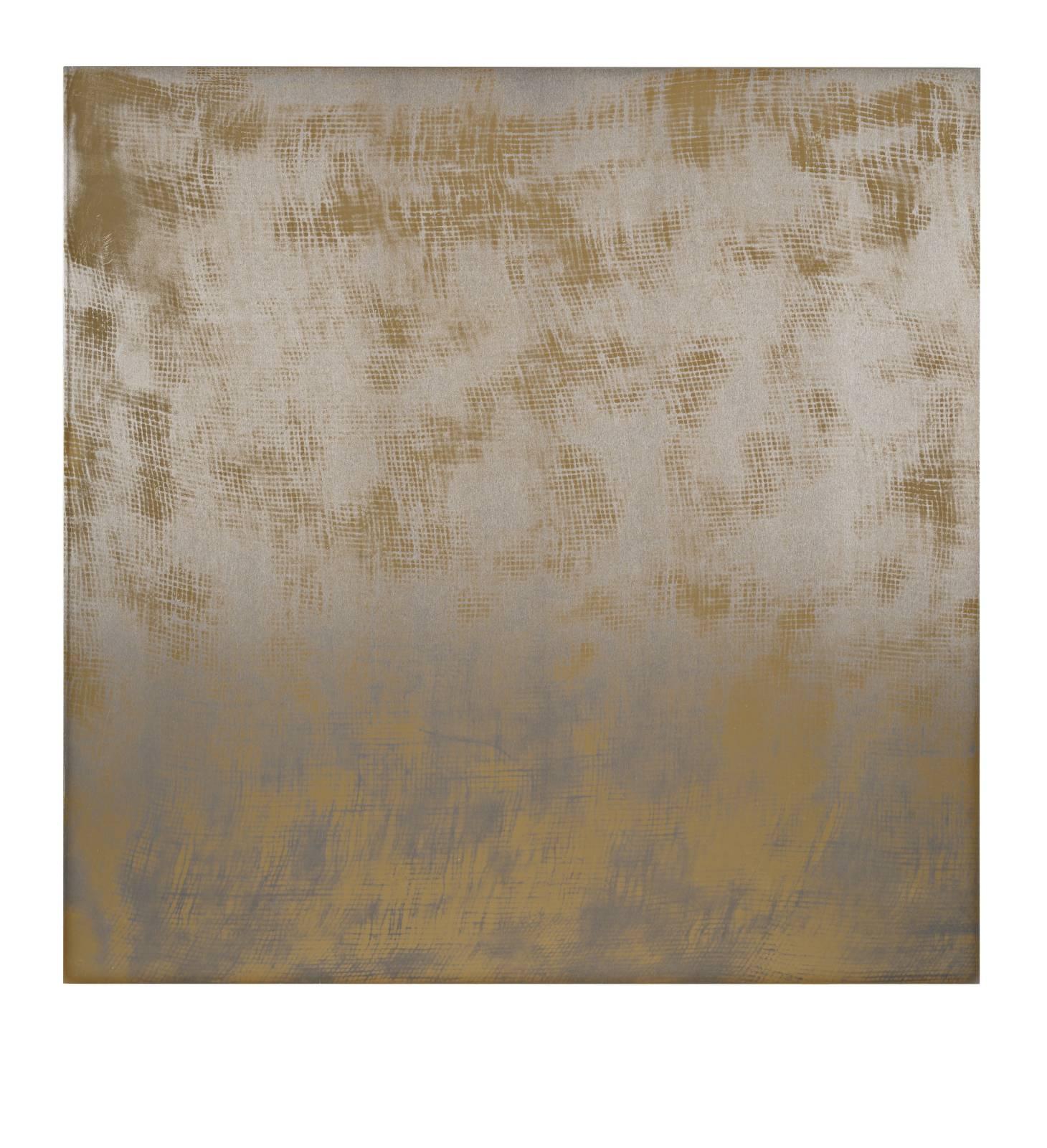 "STAIN : 40°42'54.9""N 73°56'27.4""W, 2015, spraypaint on aluminium, 81,3 x 81,3 cm"