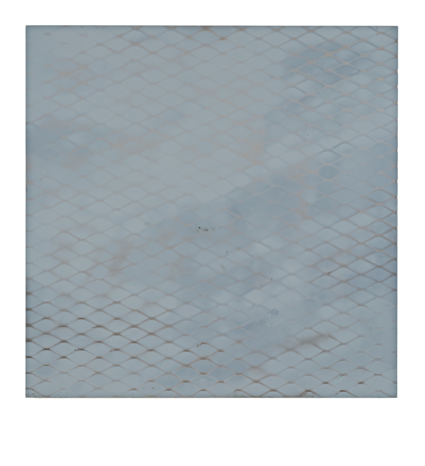 "STAIN : 40°43'14.8""N 73°56'11.0""W, 2015, spraypaint on aluminium, 81,3 x 81,3 cm"
