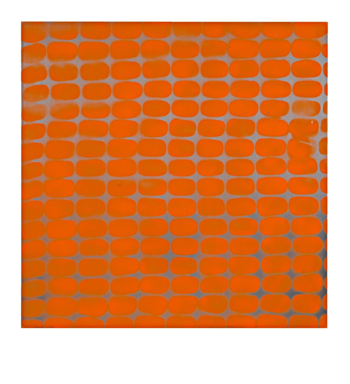 "STAIN : 40°42'53.6""N 73°56'35.4""W, 2015, spraypaint on aluminium, 81,3 x 81,3 cm"