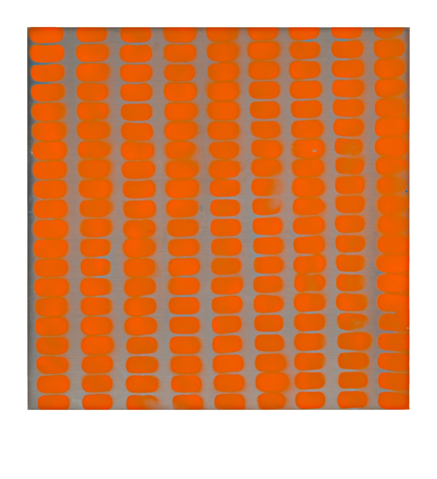 "STAIN : 40°42'51.0""N 73°56'07.7""W, 2015, spraypaint on aluminium, 81,3 x 81,3 cm"