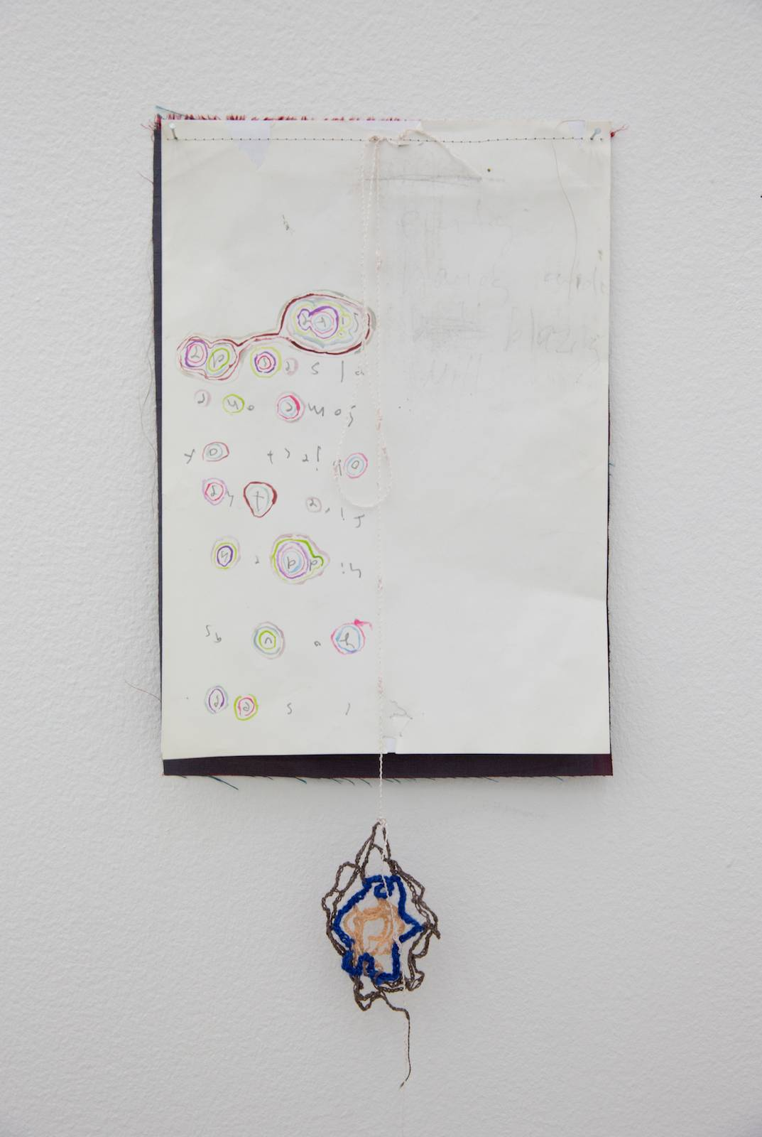 empty hands, 2014, acrylic on paper, sewing and crochet, 49 x 21,5 cm