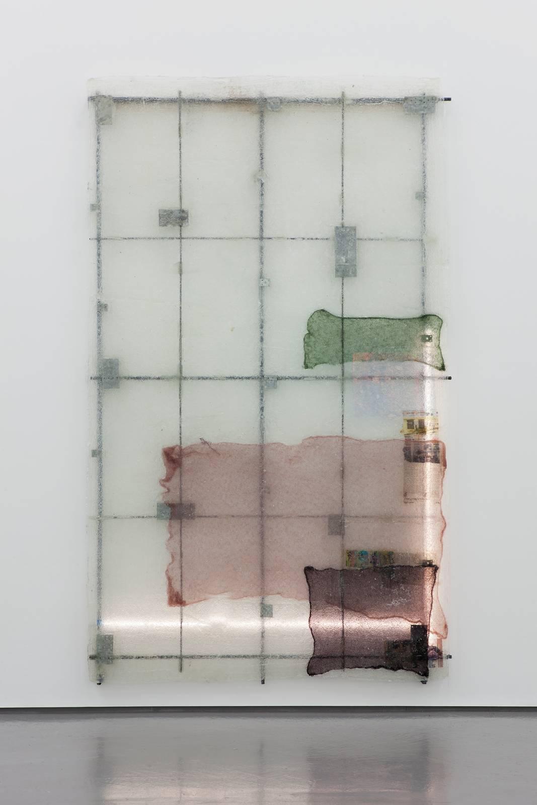 Freud's Gashgai, 2011/2012, steel, knitting, polyester, paper, neon, 286 x 176 x 7 cm