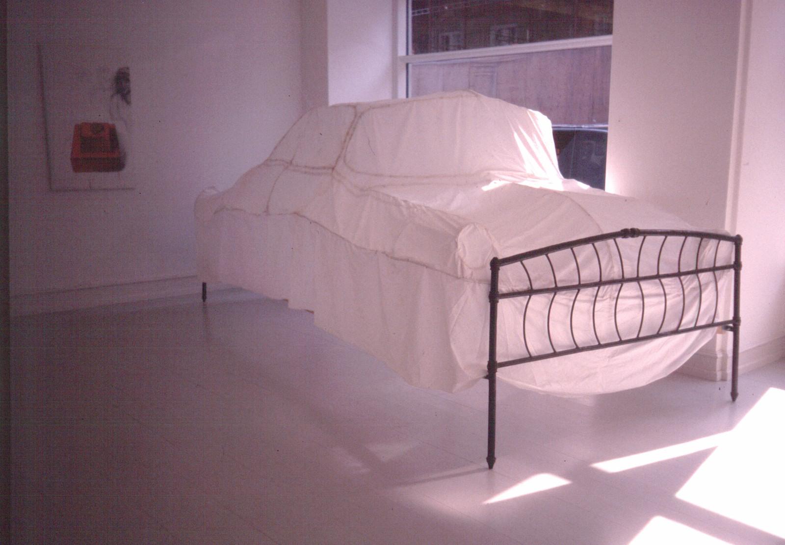 American Dream, 2005, textile, metal, fluorescent lamp, fan, 270 x 150 x 180 cm Installation view Galerie Mikael Andersen, Copenhagen (2005)