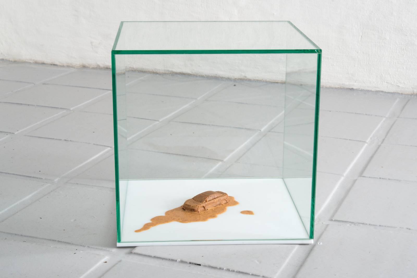 Lekebil, 2003, human semen, wood glue and glass, 8 x 5 x 4 cm