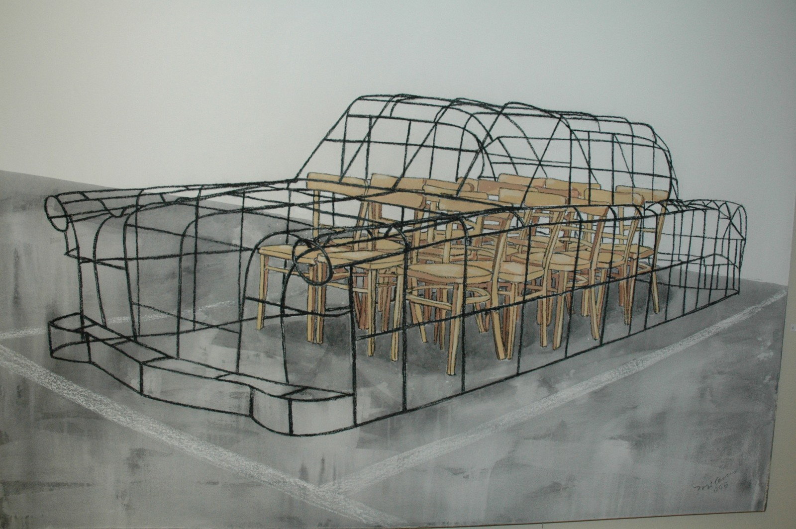 Reserved space, 2006, charcoal and acrylic on canvas, 160 x 200 cm