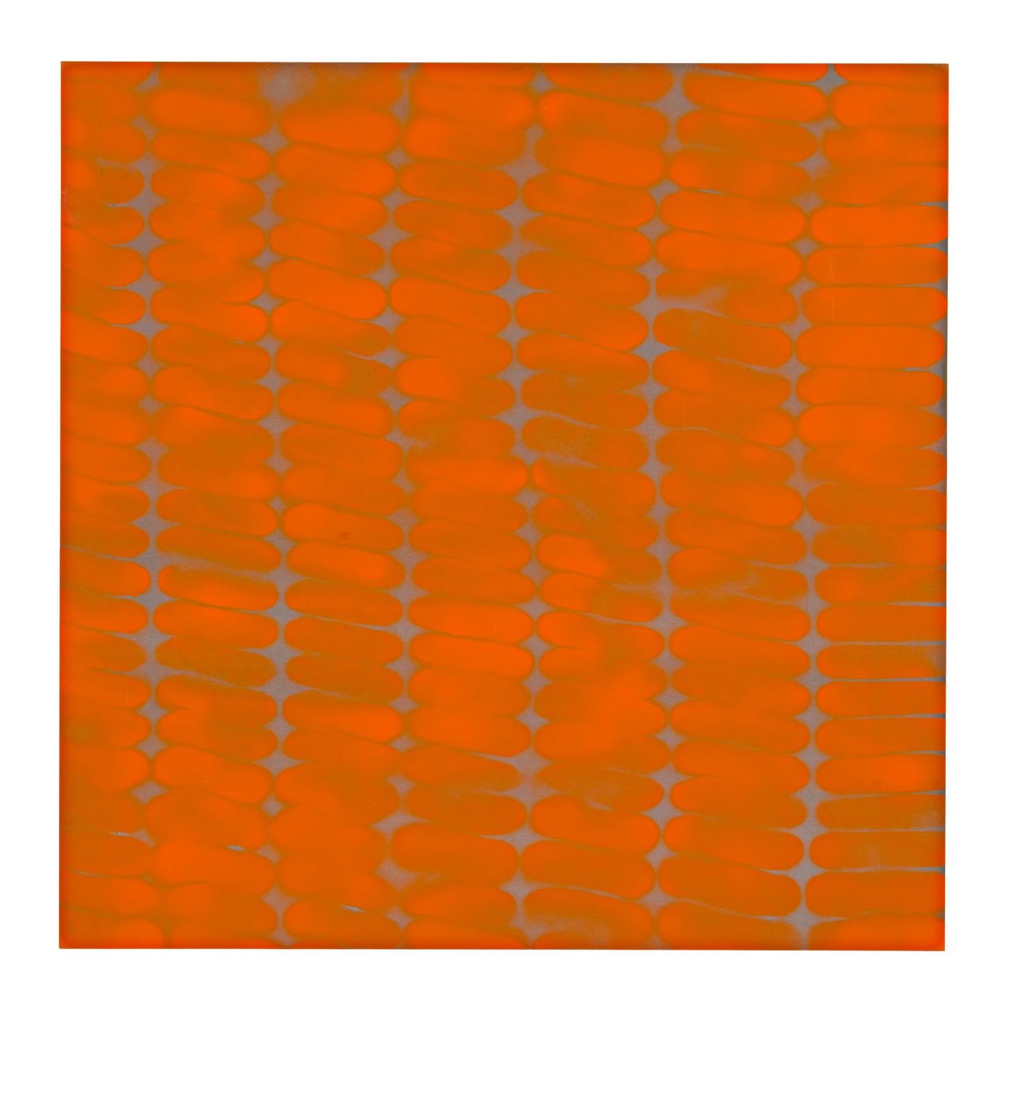 "STAIN : 40°43'23.3""N 73°56'12.7""W, 2015, spraypaint on aluminium, 81,3 x 81,3 cm"