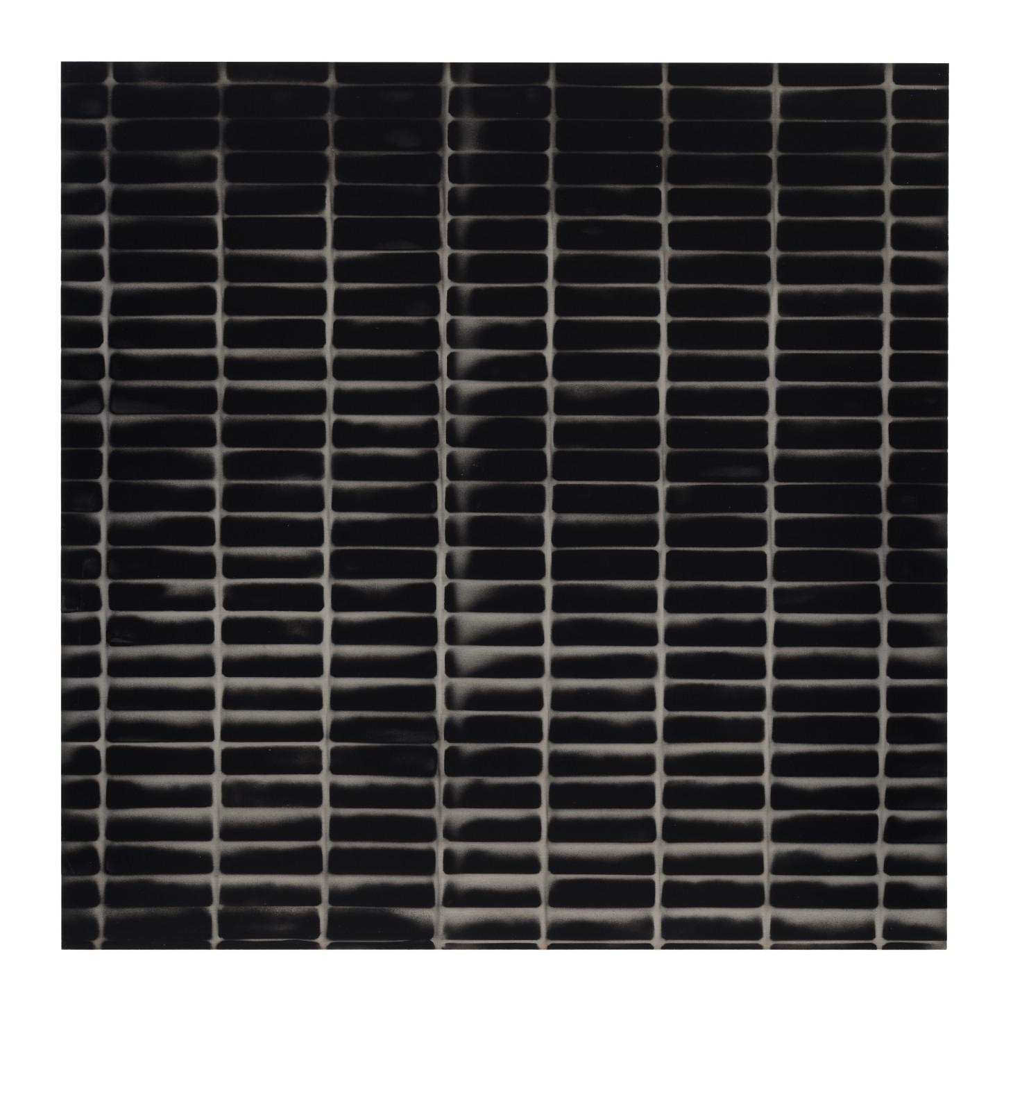 "STAIN : 40°42'52.5""N 73°56'00.5""W, 2015, spraypaint on aluminium, 81,3 x 81,3 cm"