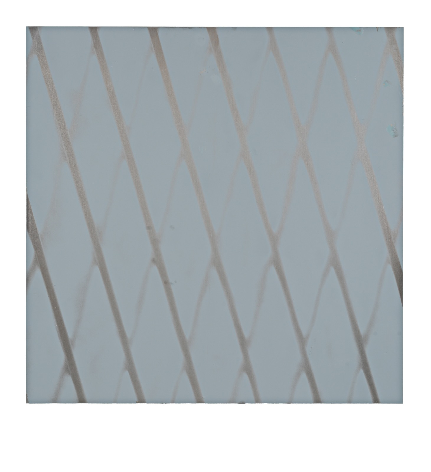 "STAIN : 40°43'11.2""N 73°56'08.9""W, 2015, spraypaint on aluminium, 81,3 x 81,3 cm"