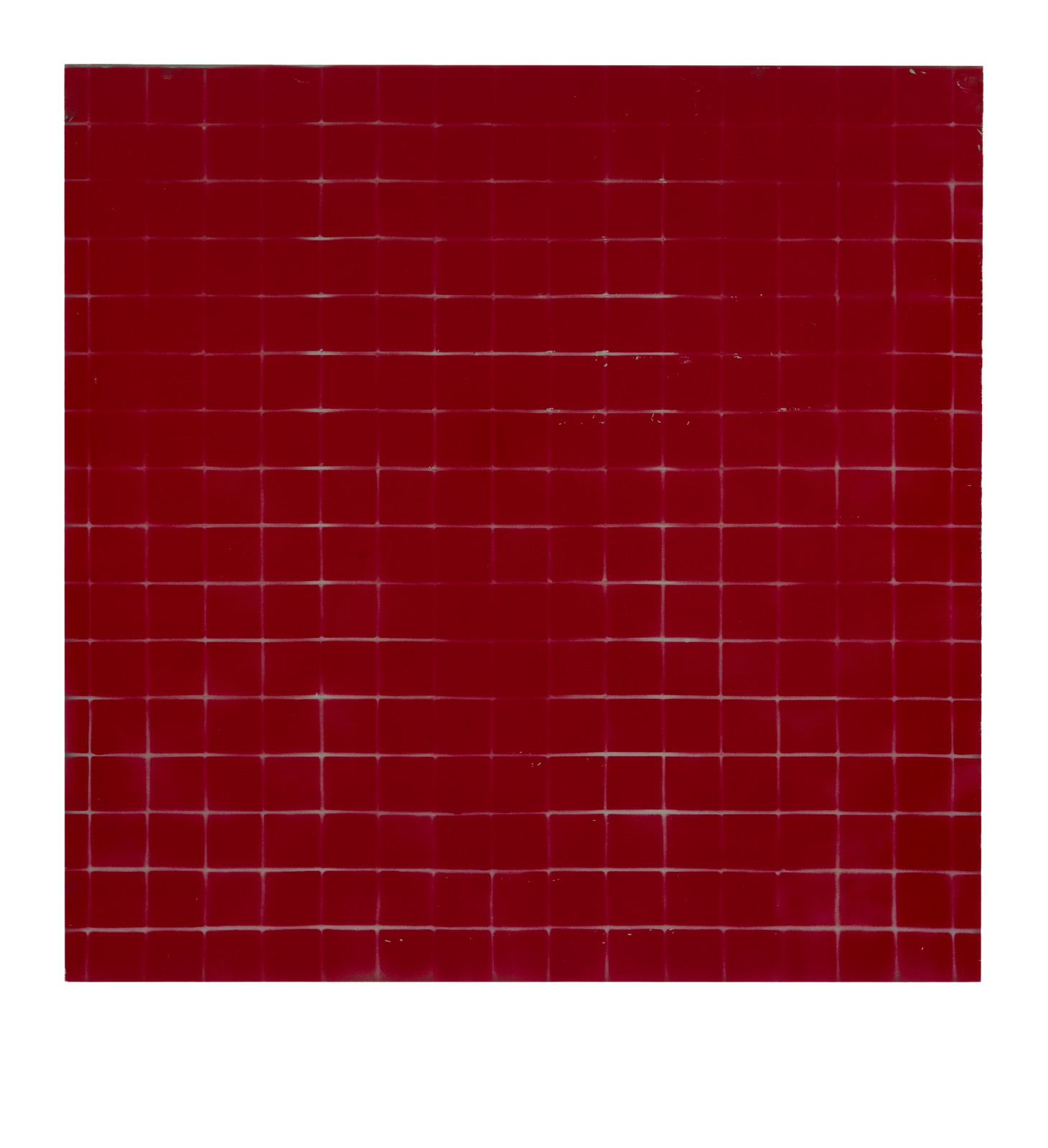 "STAIN : 40°42'44.1""N 73°56'11.1""W, 2015, spraypaint on aluminium, 81,3 x 81,3 cm"