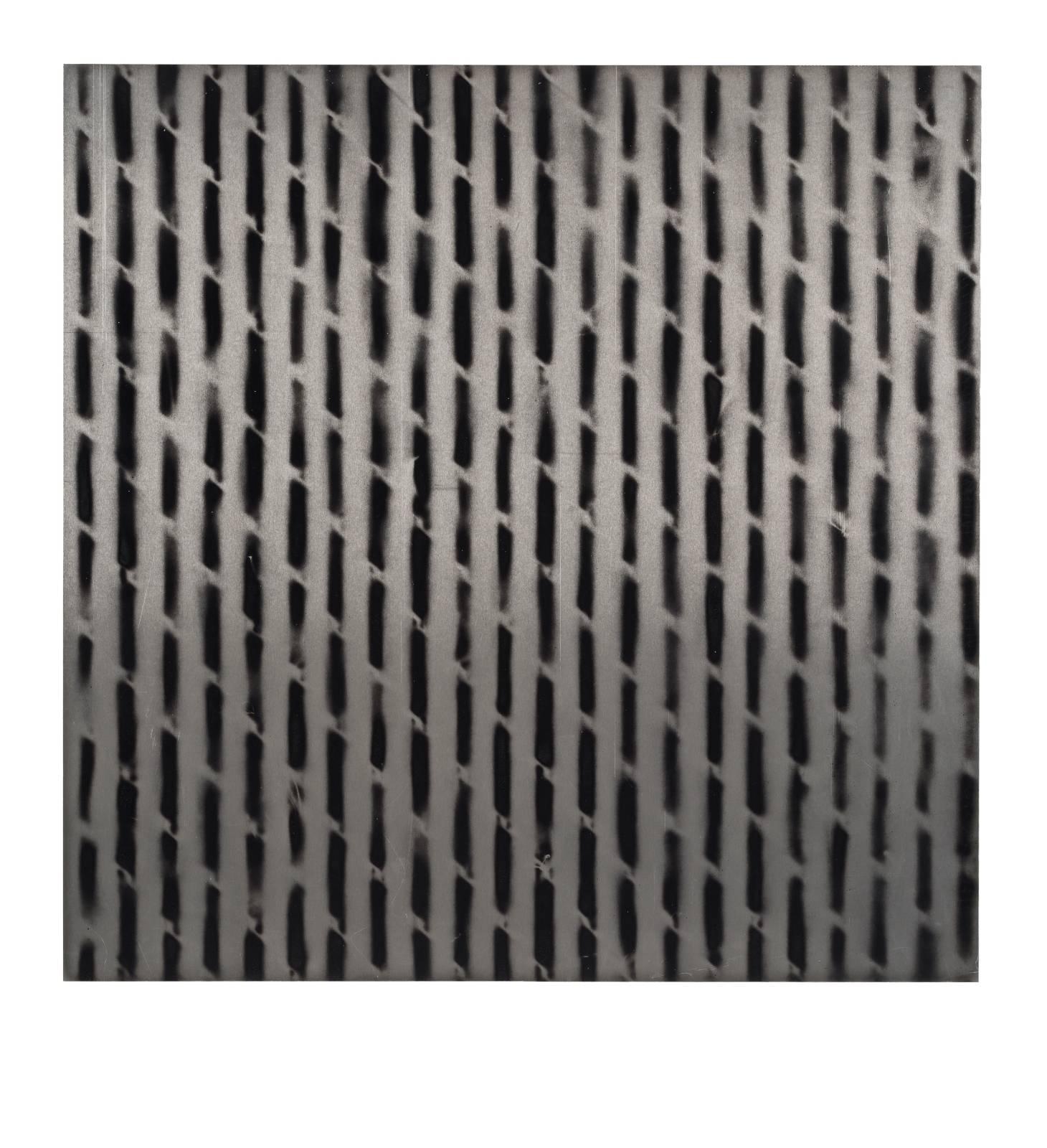 "STAIN : 40°42'51.1""N 73°56'01.1""W, 2015, spraypaint on aluminium, 81,3 x 81,3 cm"