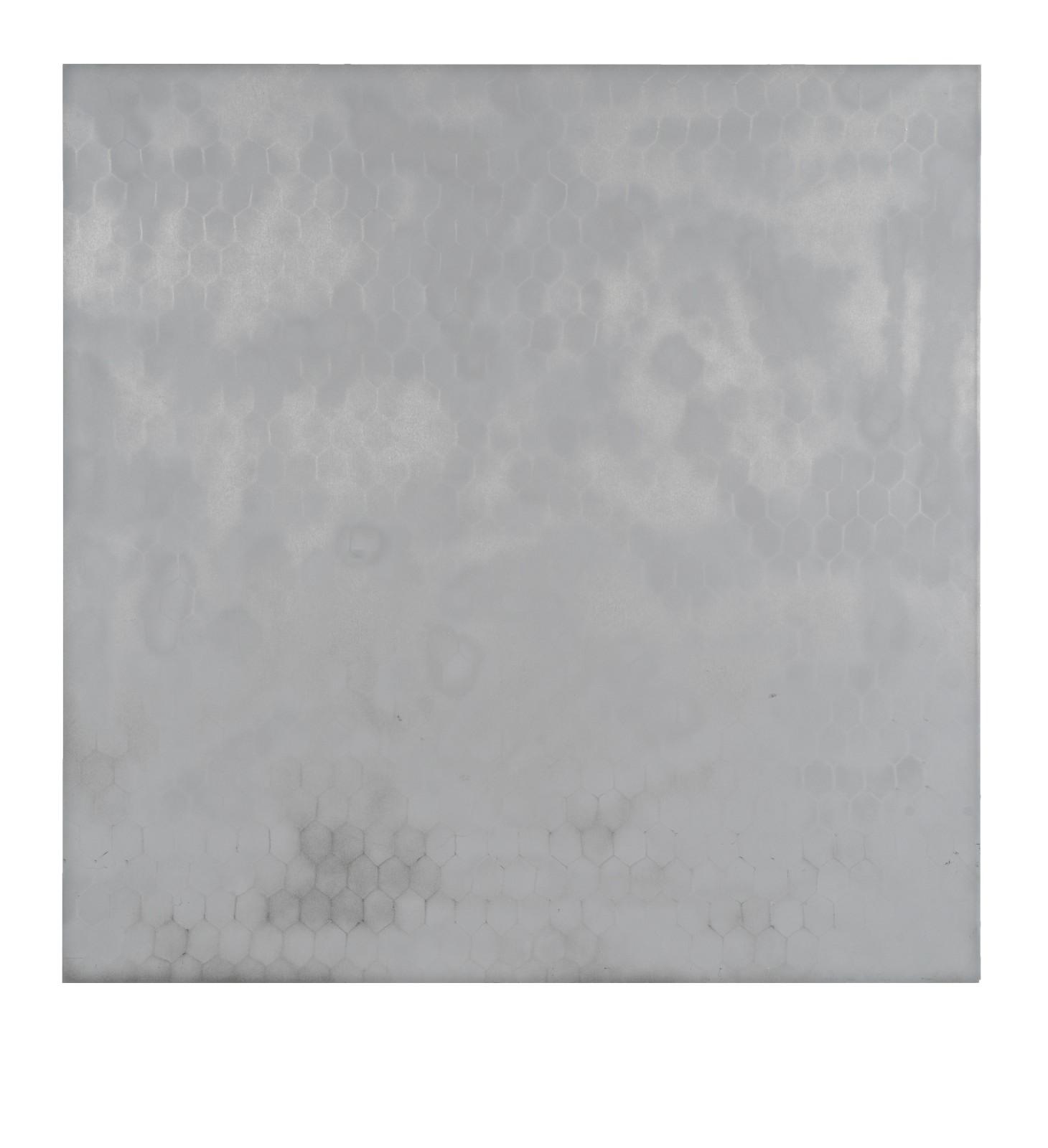 "STAIN : 40°42'49.1""N 73°56'03.5""W, 2015, spraypaint on aluminium, 81,3 x 81,3 cm"