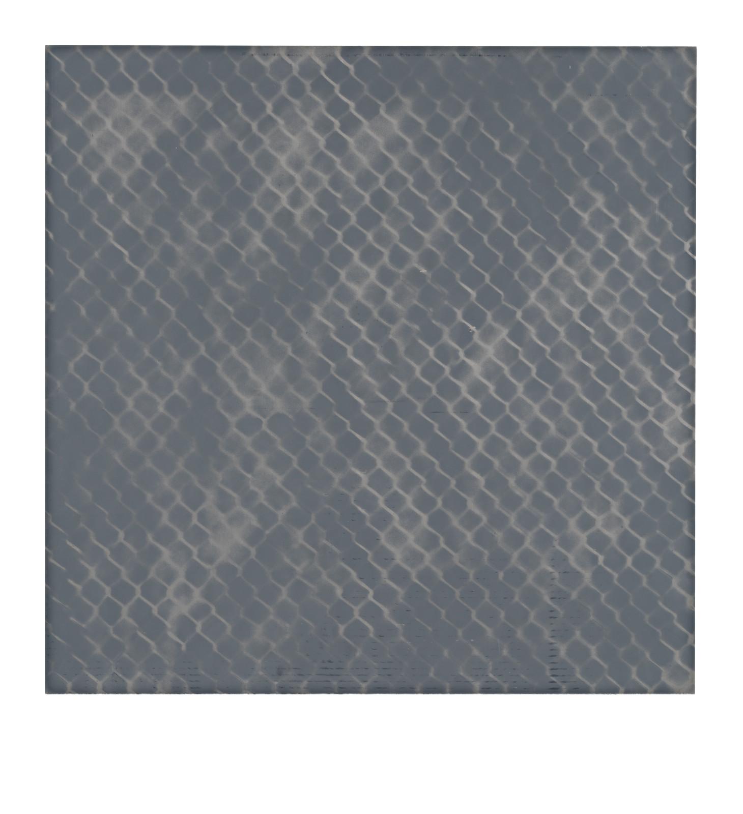 "STAIN : 40°42'43.6""N 73°56'03.7""W, 2015, spraypaint on aluminium, 81,3 x 81,3 cm"