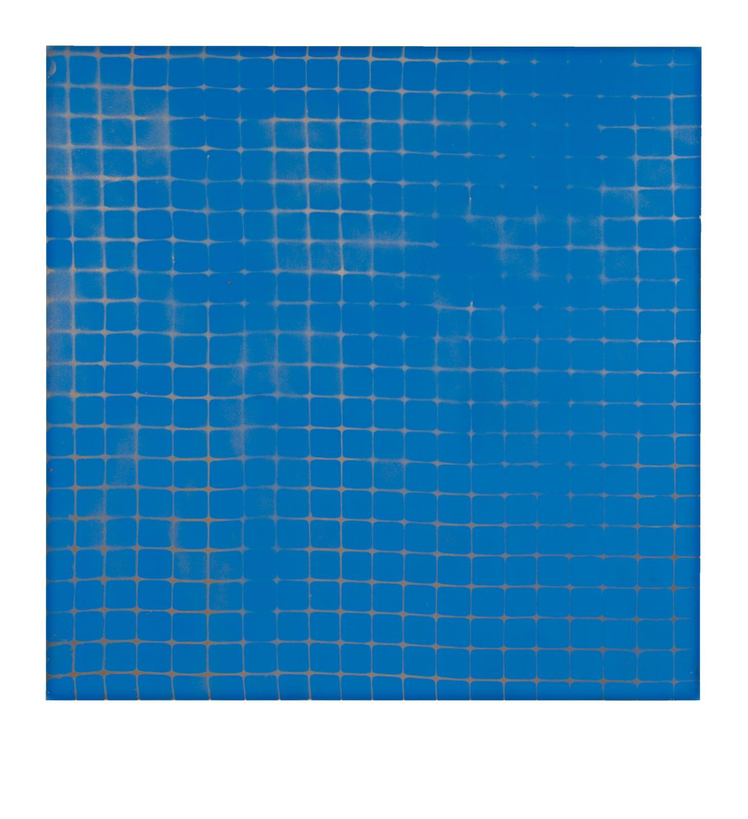 "STAIN : 40°42'58.7""N 73°56'20.4""W, 2015, spraypaint on aluminium, 81,3 x 81,3 cm"