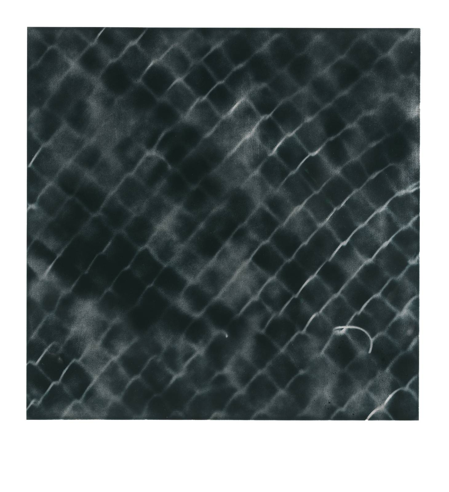 "STAIN : 40°42'52.1""N 73°56'05.0""W, 2015, spraypaint on aluminium, 81,3 x 81,3 cm"