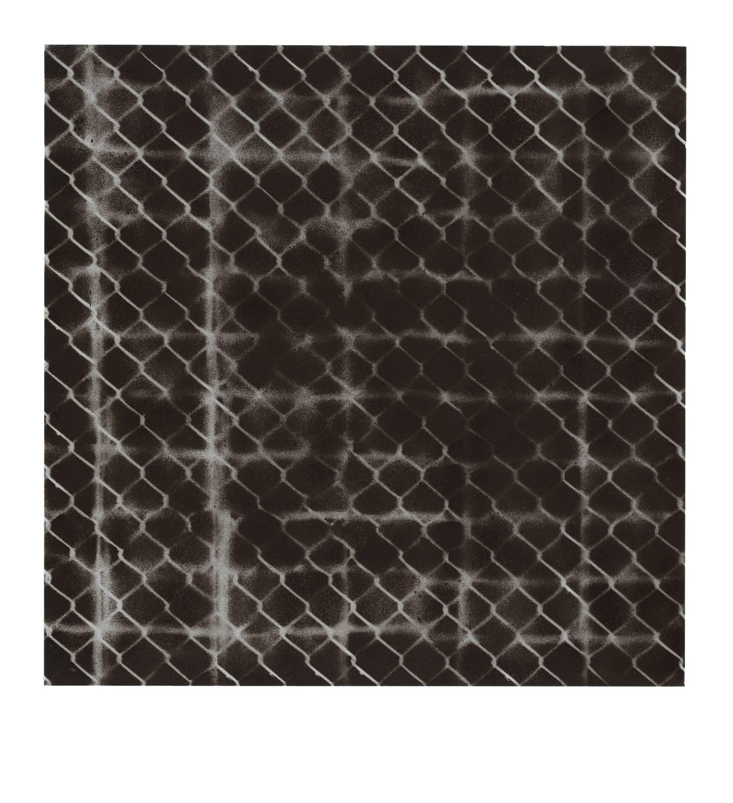 "STAIN : 55°36'50.9""N 13°01'12.6""E, 2016, spraypaint on aluminium, 81,3 x 81,3 cm"