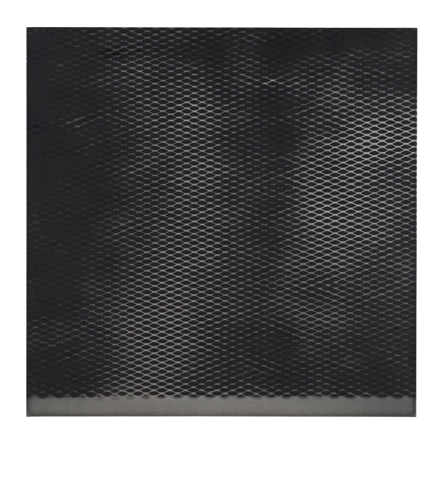 "STAIN : 40°42'46.5""N 73°56'06.1""W, 2015, spraypaint on aluminium, 81,3 x 81,3 cm"