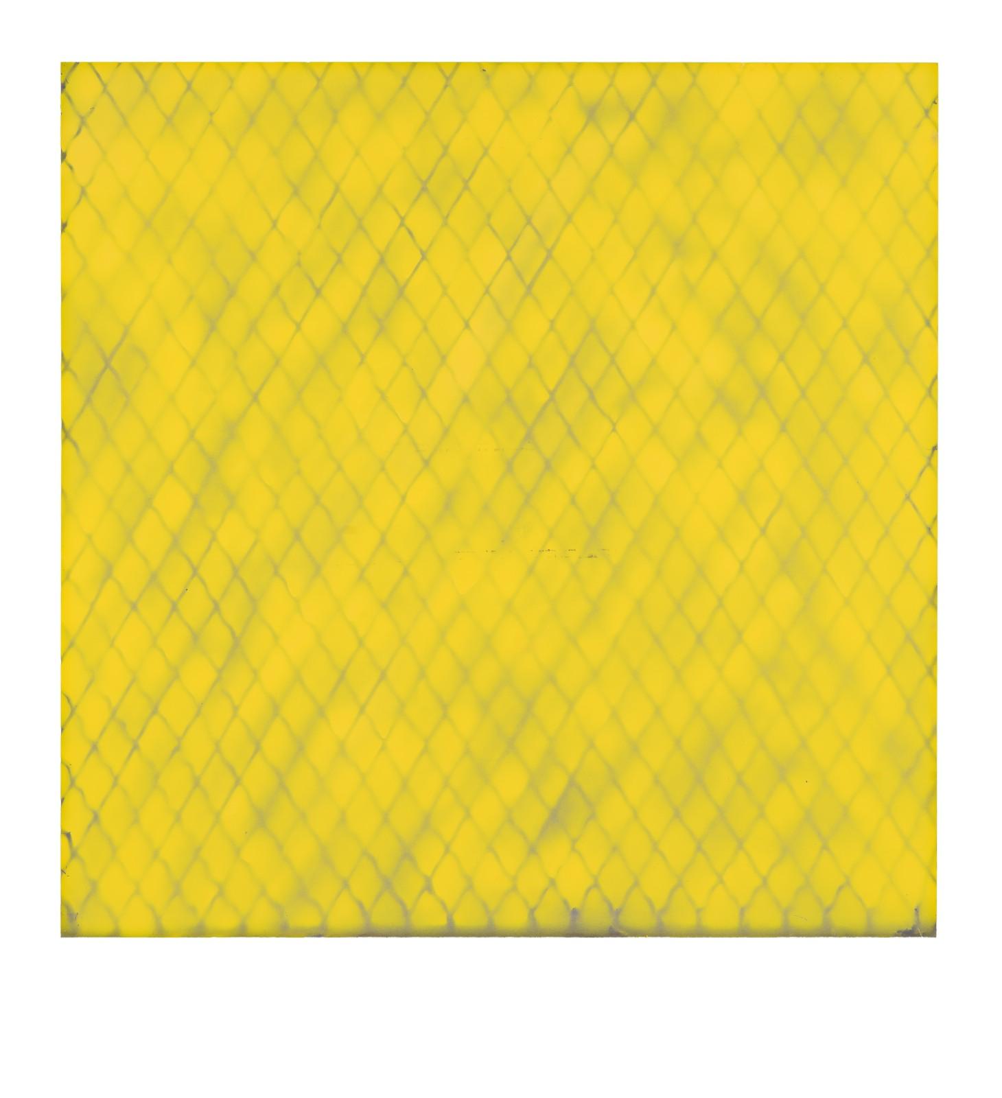 "STAIN : 40°43'08.0""N 73°56'08.6""W, 2015, spraypaint on aluminium, 81,3 x 81,3 cm"