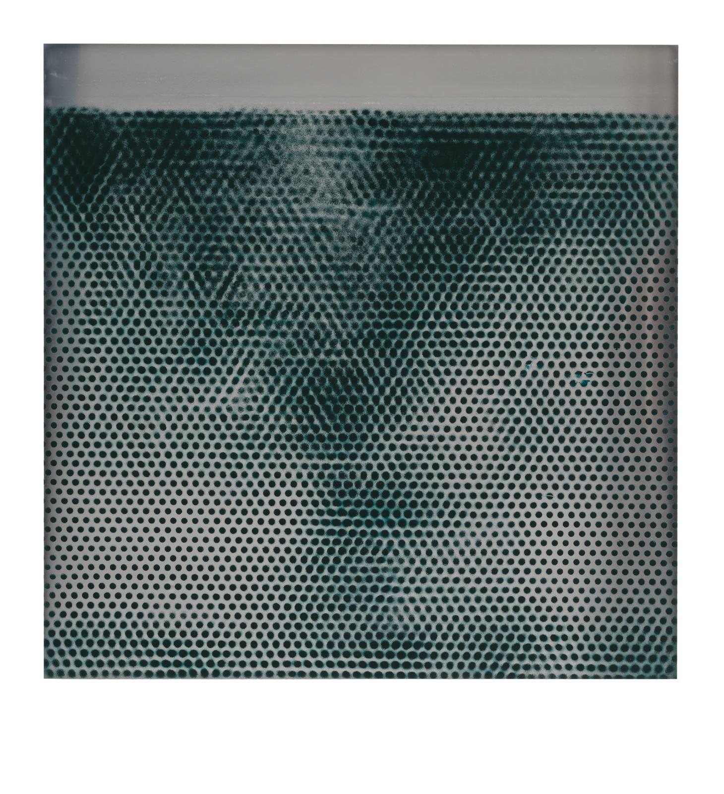 "STAIN : 55°36'37.0""N 12°58'49.1""E, 2016, spraypaint on aluminium, 81,3 x 81,3 cm"