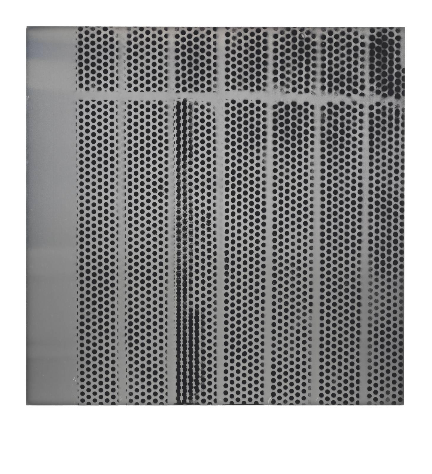 "STAIN : 55°36'20.8""N 13°00'17.1""E, 2016, spraypaint on aluminium, 81,3 x 81,3 cm"