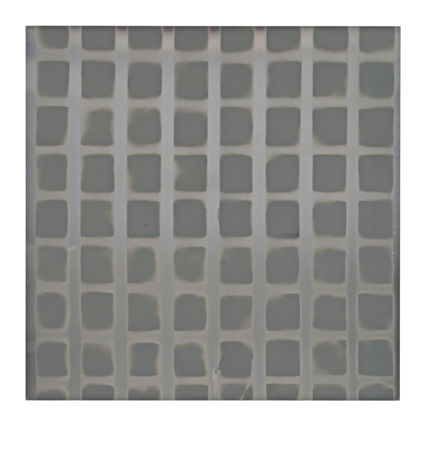 "STAIN : 55°46'47.5""N 13°05'39.0""E, 2016, spraypaint on aluminium, 81,3 x 81,3 cm"