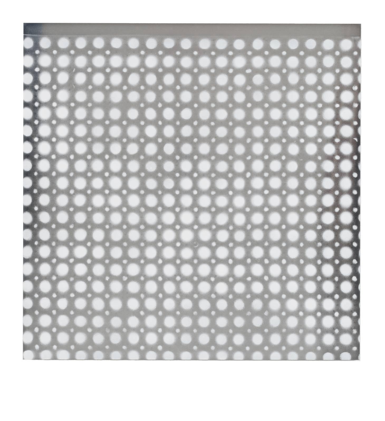 "STAIN : 55°36'31.0""N 13°00'42.4""E, 2016, spraypaint on aluminium, 81,3 x 81,3 cm"