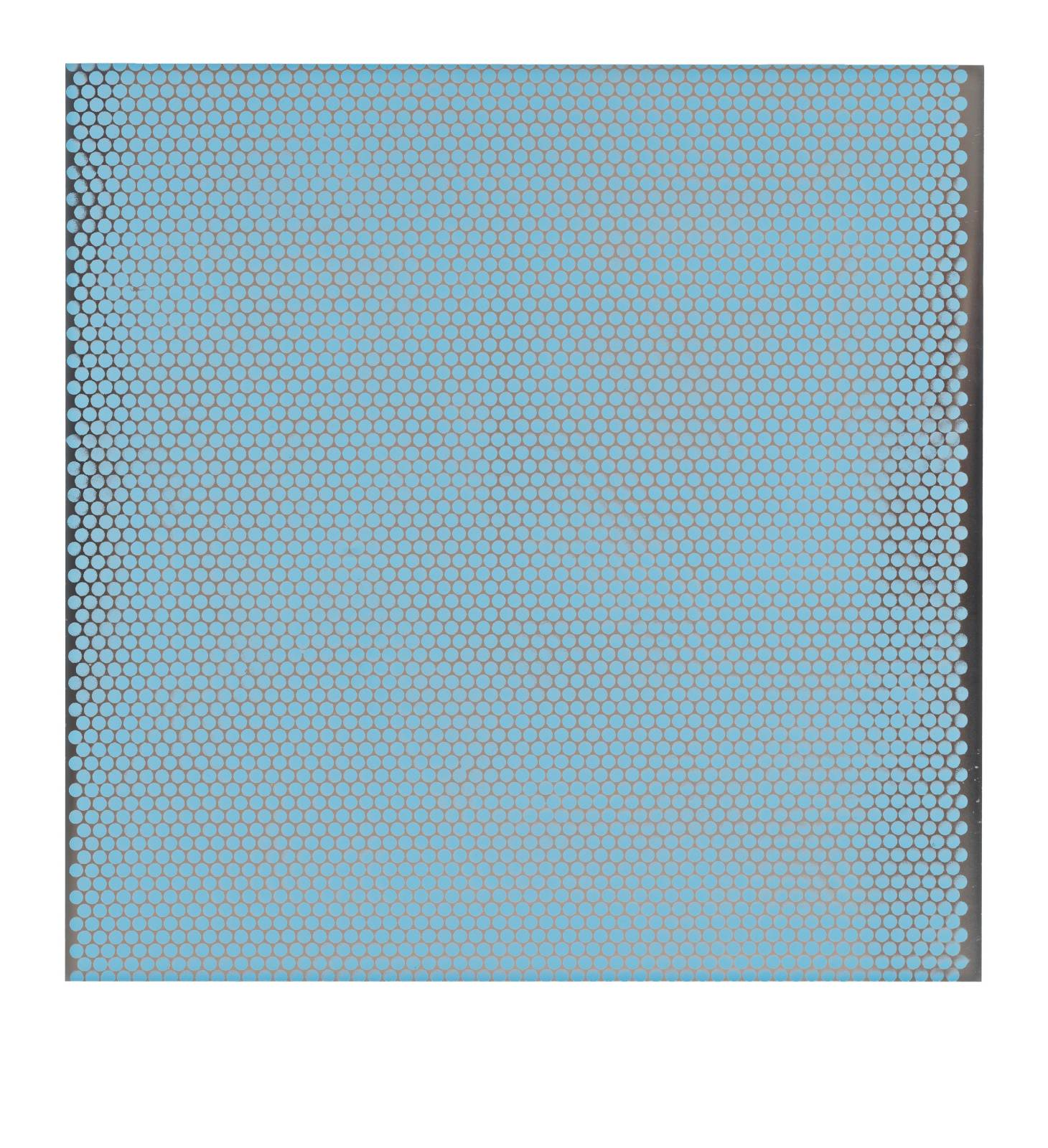 "STAIN : 55°36'55.5""N 13°01'17.3""E, 2016, spraypaint on aluminium, 81,3 x 81,3 cm"