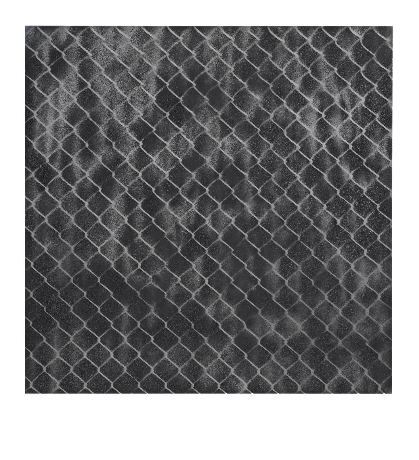 "STAIN : 55°36'48.9""N 13°00'49.6""E, 2016, spraypaint on aluminium, 81,3 x 81,3 cm"