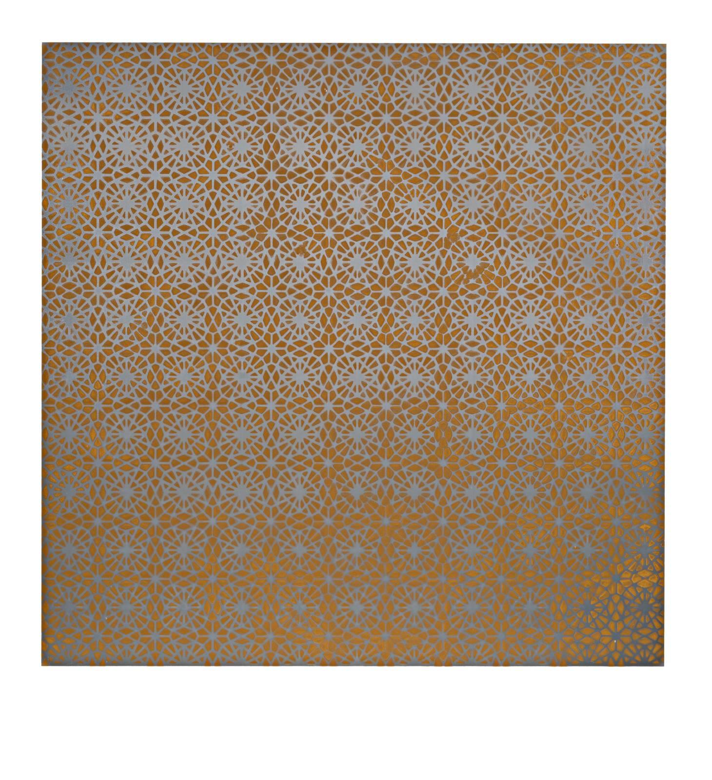 "STAIN : 55°36'40.9""N 13°05'46.6""E, 2016, spraypaint on aluminium, 81,3 x 81,3 cm"