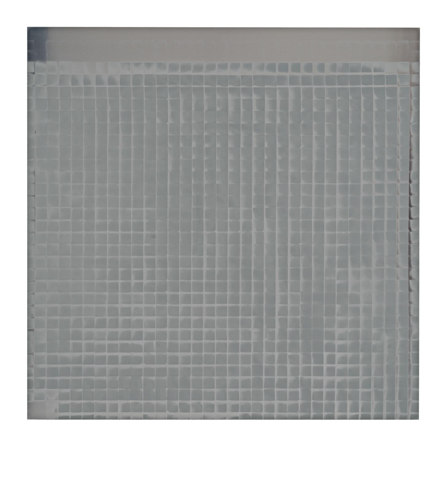 "STAIN : 55°42'24.4""N 13°11'29.3""E, 2016, spraypaint on aluminium, 81,3 x 81,3 cm"