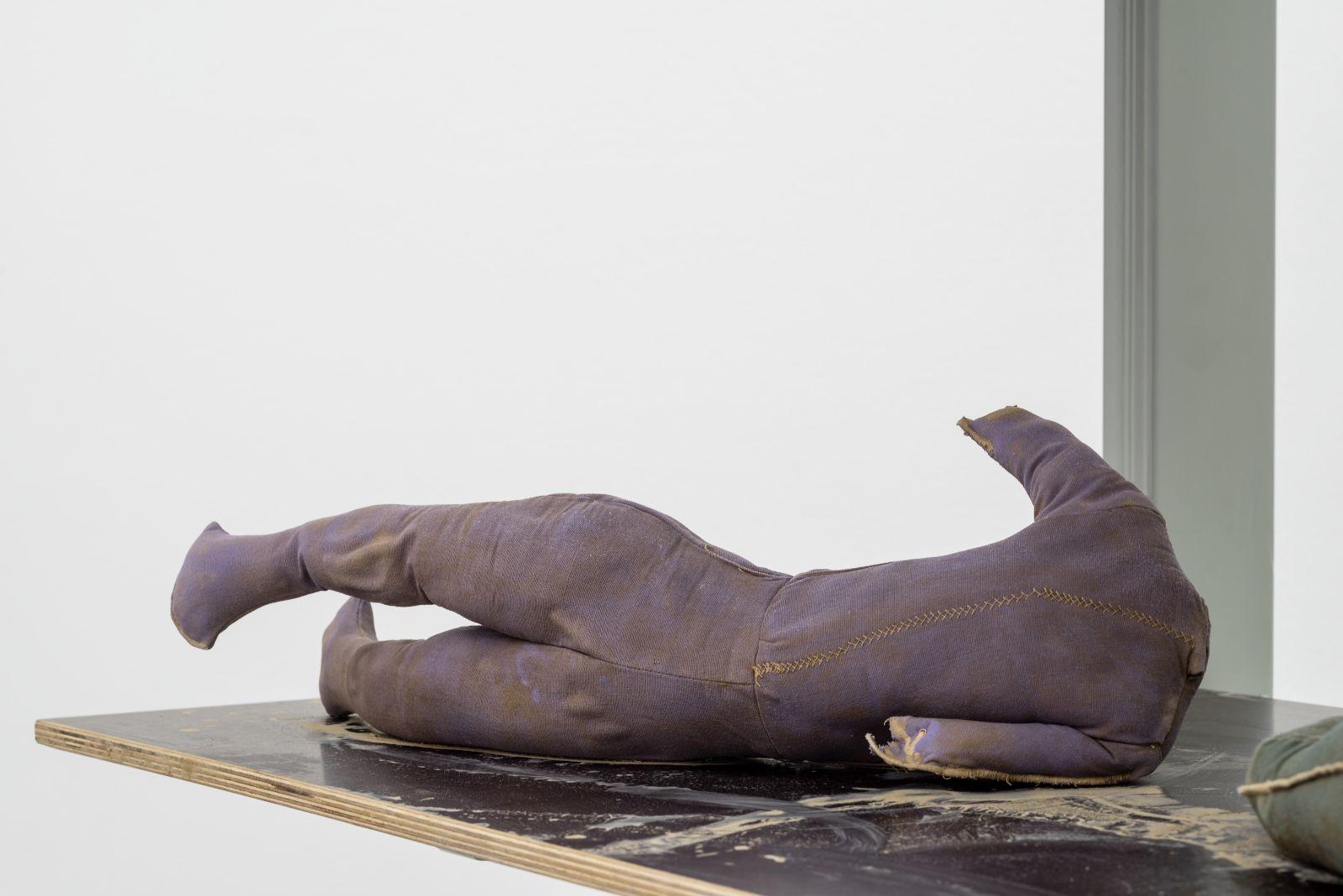 Detail from Large E-shelf, 2015, steel, shelf, clay, glass tube, fabric, 230 x 85 x 60 cm