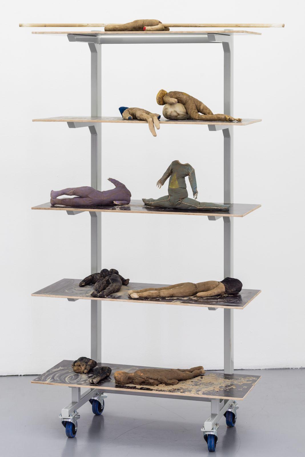 Large E-shelf, 2015, steel, shelf, clay, glass tube, fabric, 230 x 85 x 60 cm