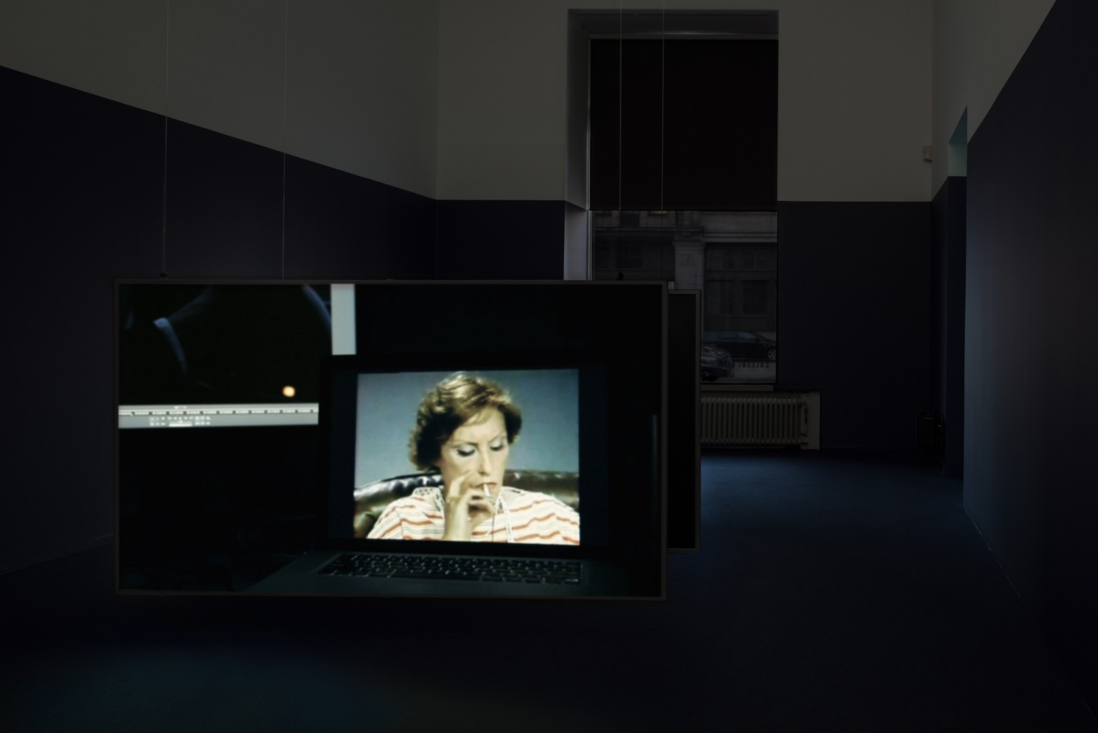 Sunsets, 2012, HD video, sound, 22 minutes 30 second. Installation view, For Every Word Has Its Own Shadow, Galleri Riis, Stockholm, 2015