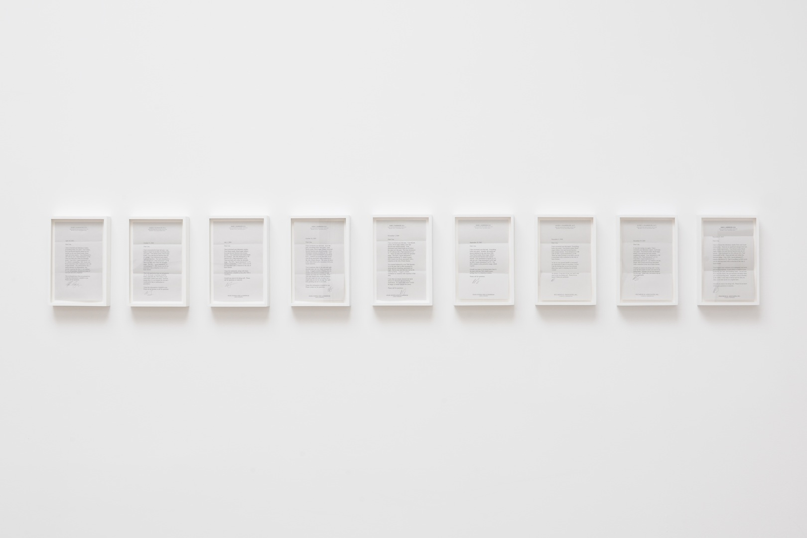 """Letters From Dr. Bamberger, 2001-2012, annual post-physical letters, variable installation, 9 - 5/8"""" x 6 - 5/8 inches each (9 total), unique"""