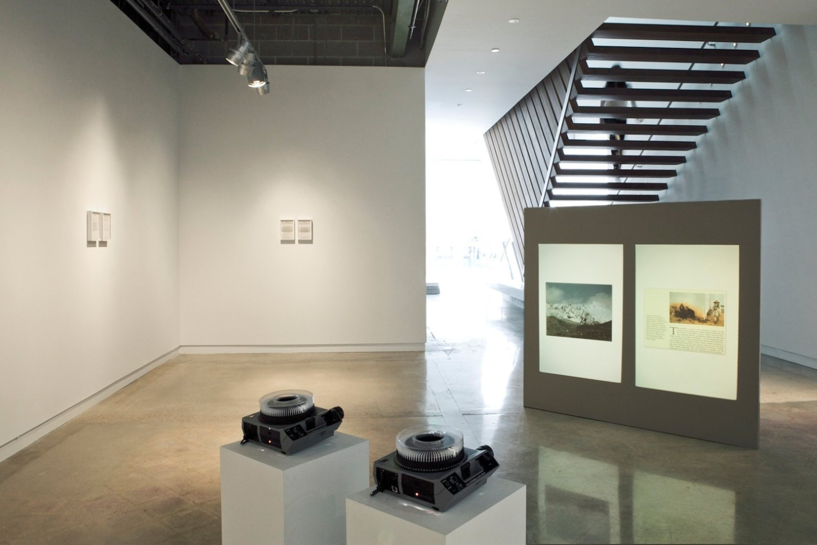 National Geographic (with Letters from Dr. Bamberger), 2009, double slide projection and printed text, variable installation, ed.3. Installation view, Arthouse at the Jones Center, Austin, USA, 2011