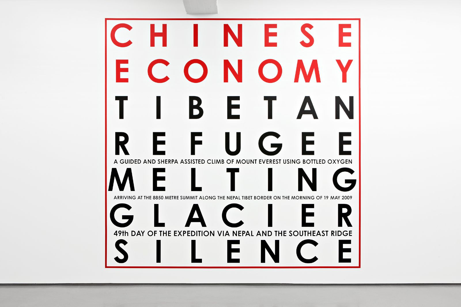 Chinese Economy, Mount Everest 2009, vinyl text on painted wall, 400 x 410 cm, unique