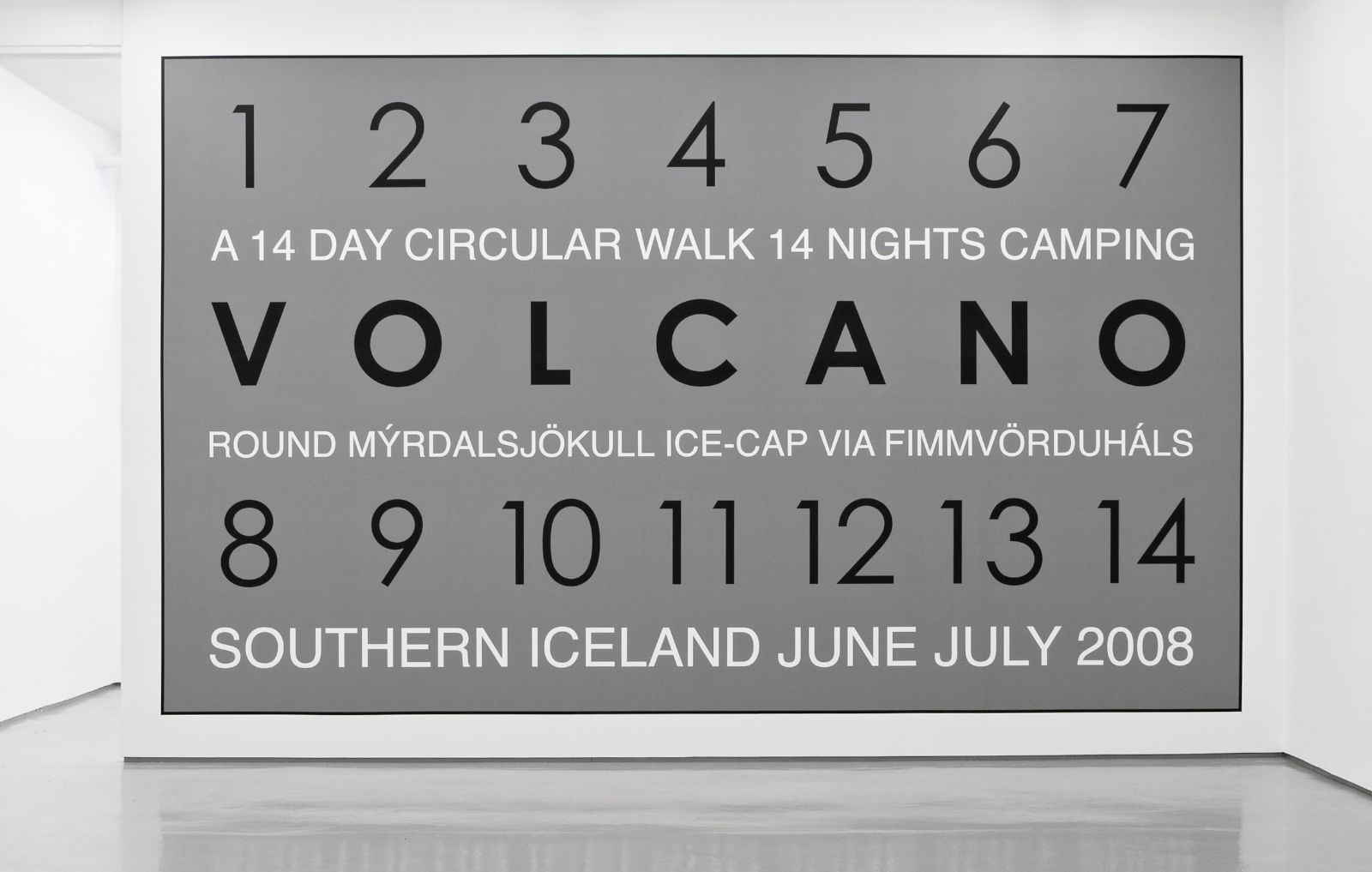 Volcano, Iceland 2008, vinyl text on painted wall, 400 x 653 cm, unique
